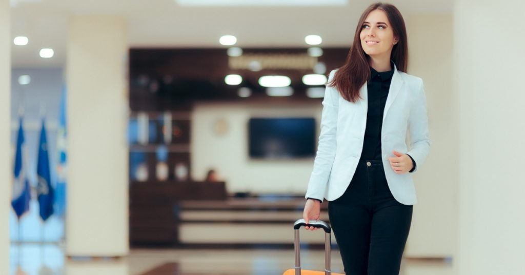 Business woman travel fitness